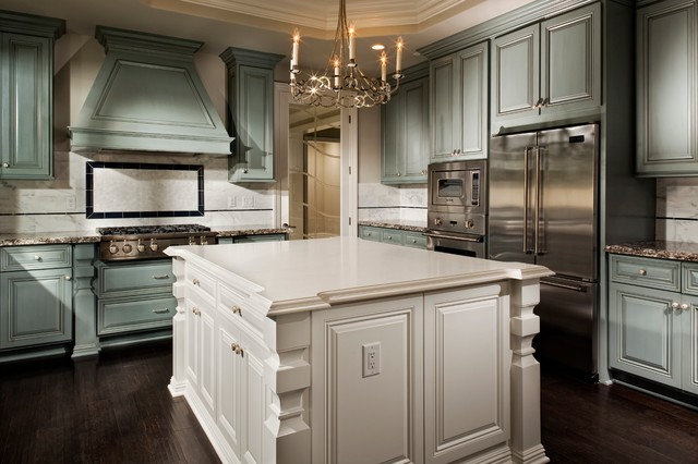 Gracious Goods Kitchen Traditional with Antiqued Backsplash Blue Cabinetry Blue Kitchen Caesarstone Chandelier Clean