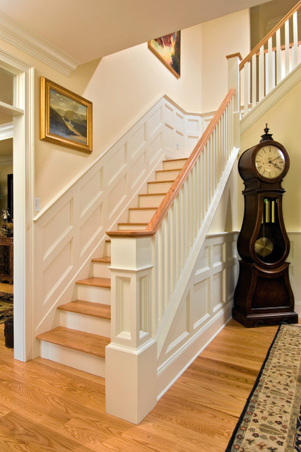 grandfather clocks Staircase Traditional with box moulding chair rail foyer grandfather clock hardwood floor