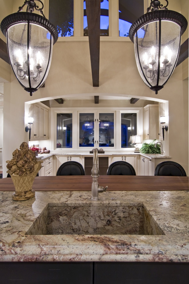 Granite Composite Sinks Kitchen Traditional with Bell Pendants Breakfast Bar Clerestory Eat In