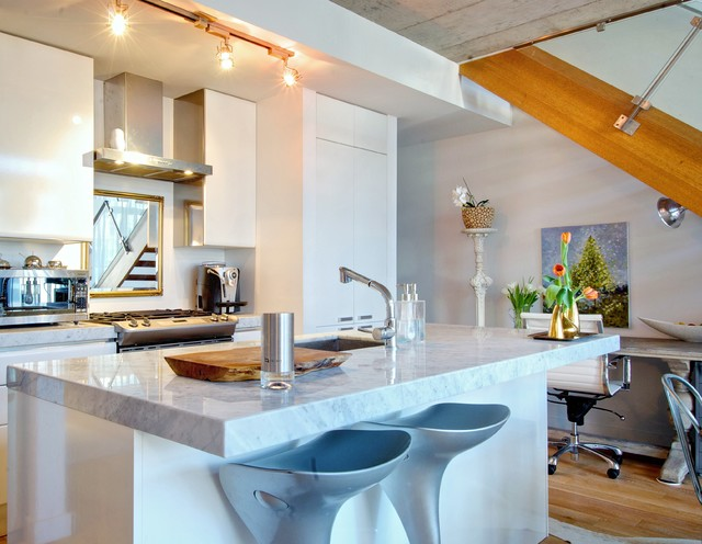 Granite Countertops Utah Kitchen Contemporary with Aluminum Group Chair Artwork Concrete Ceiling Counter Stools Desk
