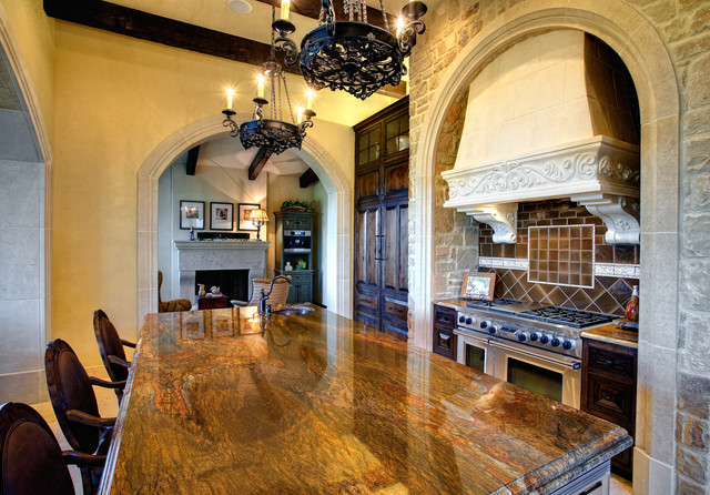 Granite Countertops Utah Kitchen Mediterranean with Arches Chandelier Counter Stools Eat in Kitchen Exposed Wood