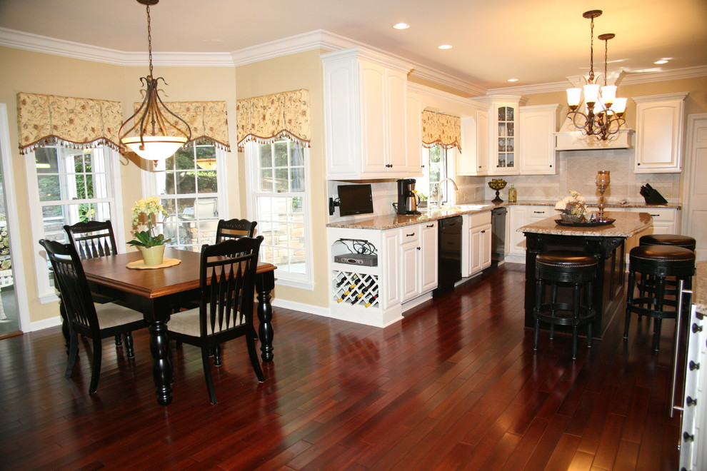 Granite Transformations Cost Kitchen Traditional with Backsplash Barstools Black Appliances Chandeliers Dining Area