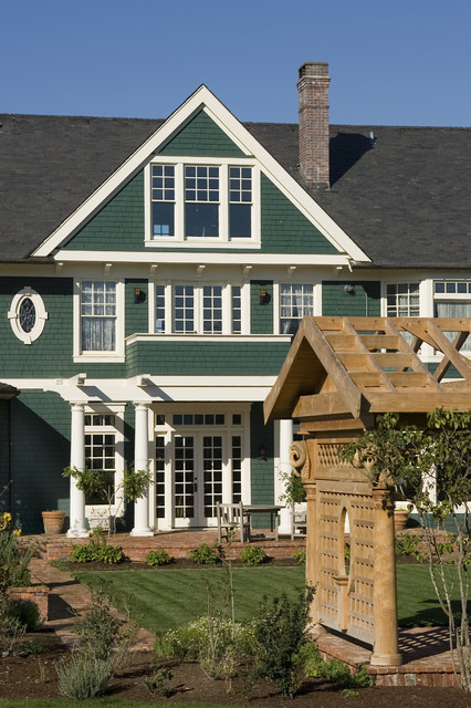 Green house kits exterior traditional with fountain gravel for Brick kit homes