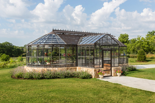 Green House Kits Garage and Shed Traditional with Backyard Conservatory Glass Greenhouse Landscaping Lawn Path Potted Plants