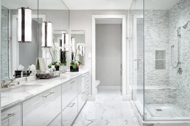 Greer Flooring Bathroom Contemporary with Double Vanity Mirror Wall Shower Bench Two Sinks Vanity