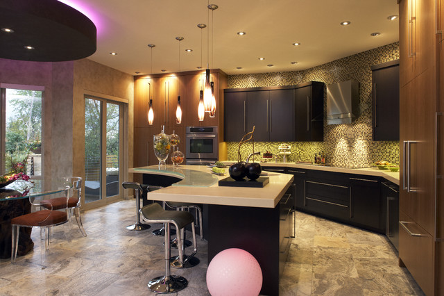 Greer Flooring Kitchen Contemporary With Breakfast Bar Ceiling Lighting  Cove Lighting Dark Cabinets Eat
