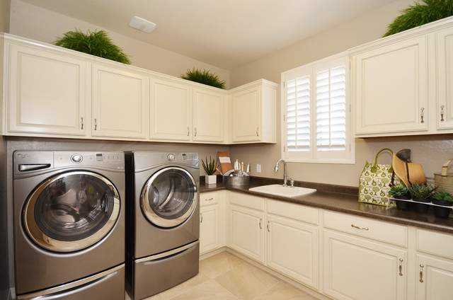Greer Flooring Laundry Room Traditional with Beige Floor Tile Brown Countertop Gray Appliances Plants White
