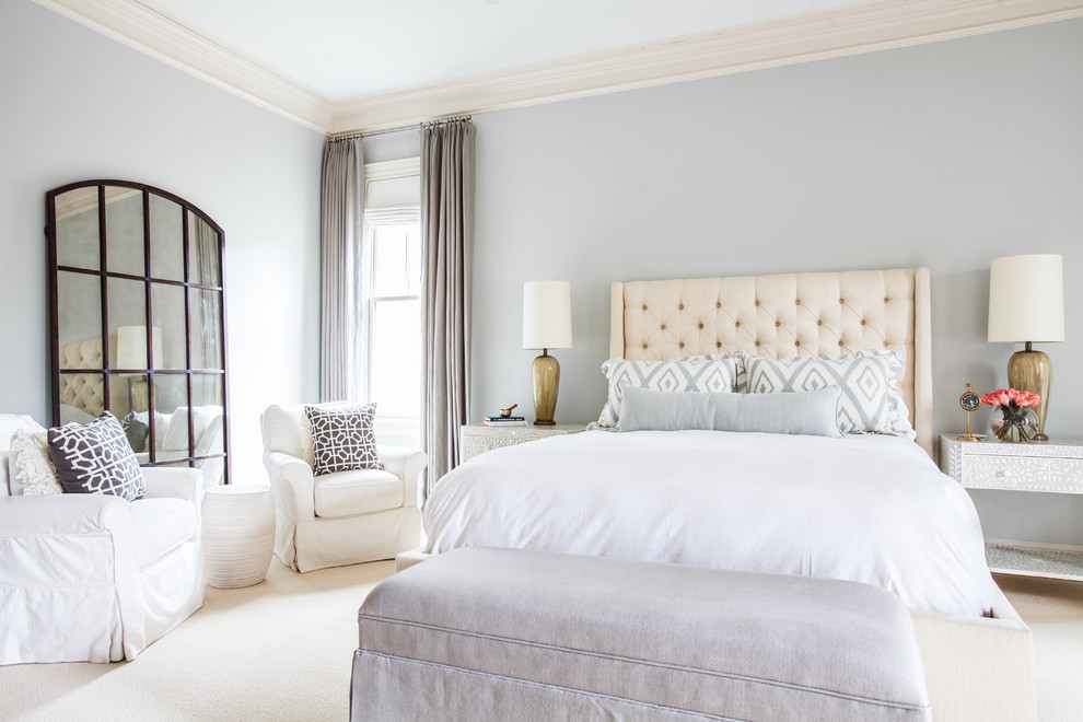 Grey Nightstand Bedroom Transitional with Airy Bedroom Seating Area Bone Inlay Bone