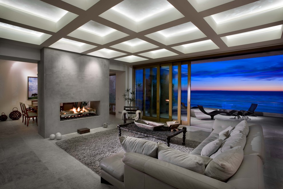 Grey Shag Rug Living Room Contemporary with Accent Lighting Coffered Ceiling Double Sided Fireplace Gray