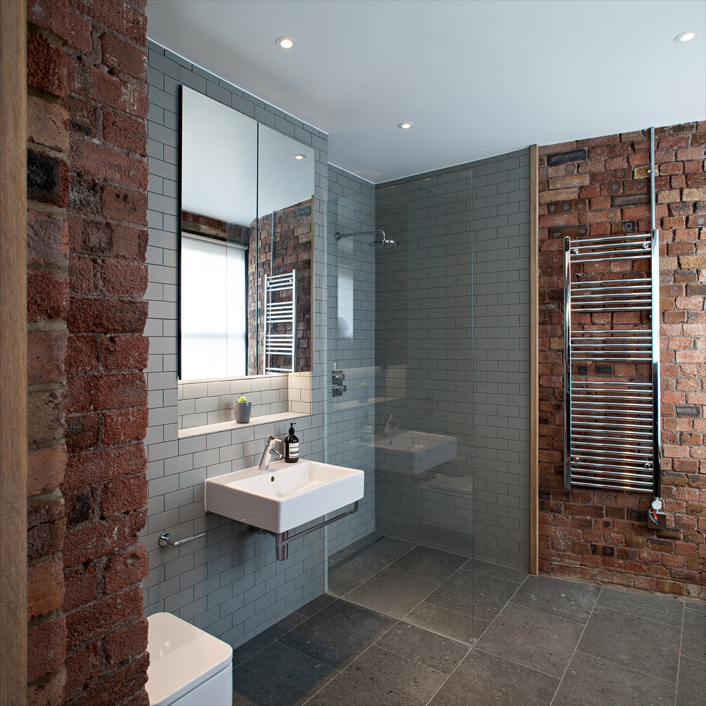 Grey Subway Tile Bathroom Contemporary with Chris Dyson Architects Exposed Brick Gray Subway