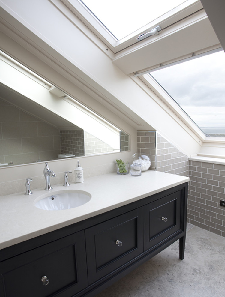 grey subway tile Bathroom Traditional with feature tile gray subway tile millwork New