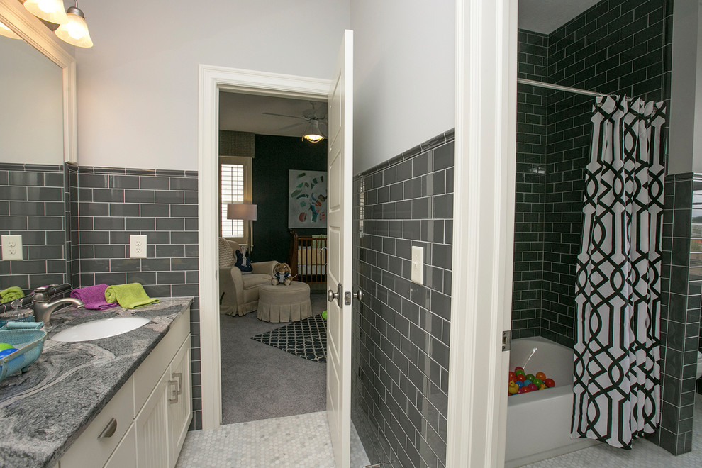 Grey Subway Tile Bathroom Transitional with Curtain Rod en Suite Framed Mirror Gray