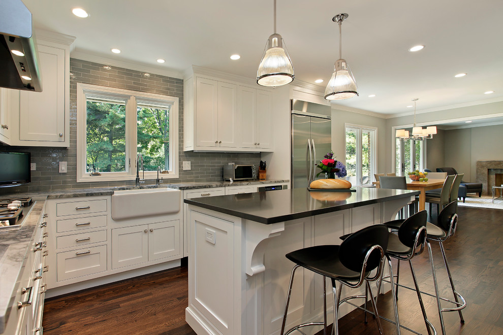 Grey Subway Tile Kitchen Traditional with Apron Sink Barstools Black Counter Stool Black