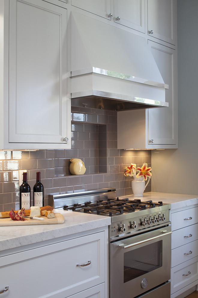 Grey Subway Tile Kitchen Traditional with Frame and Panel Gray Gray Subway Tile