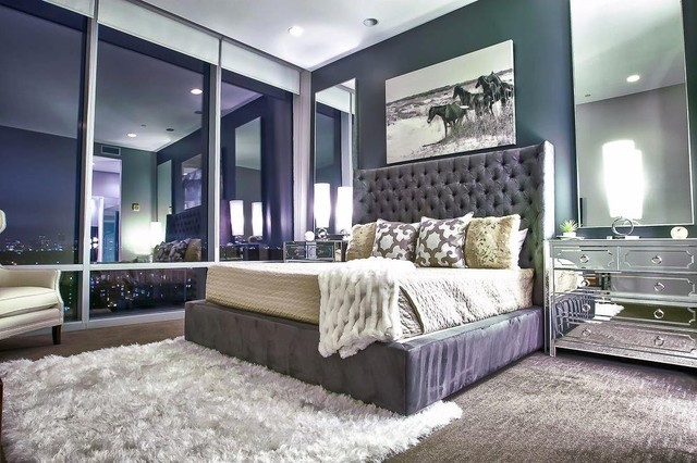 Grey Tufted Headboard Bedroom Contemporary with Art Bed Bed Pillows Bedside Table Ceiling Lighting Chest