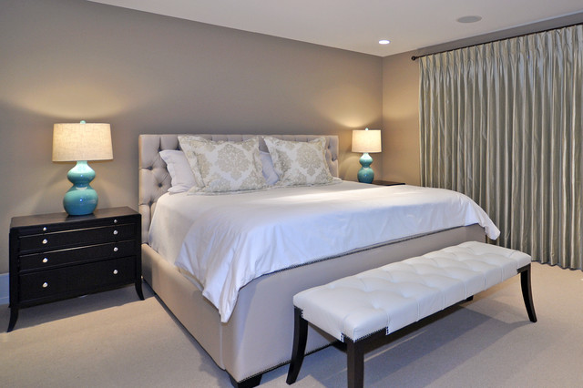 Grey Tufted Headboard Bedroom Transitional with Accent Color Bed Pillows Bedside Table Blue Lamps Ceiling
