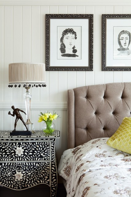 Grey Tufted Headboard Bedroom Transitional with Artwork Bedding Bedhead Bedside Tables Black and White Charcoal