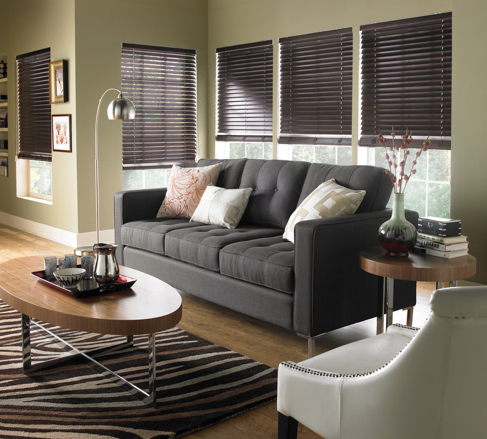 Grey Tufted Sofa Living Room Contemporary with Blinds Curtains Drapery Drapes Horizontal Blinds Horizontal