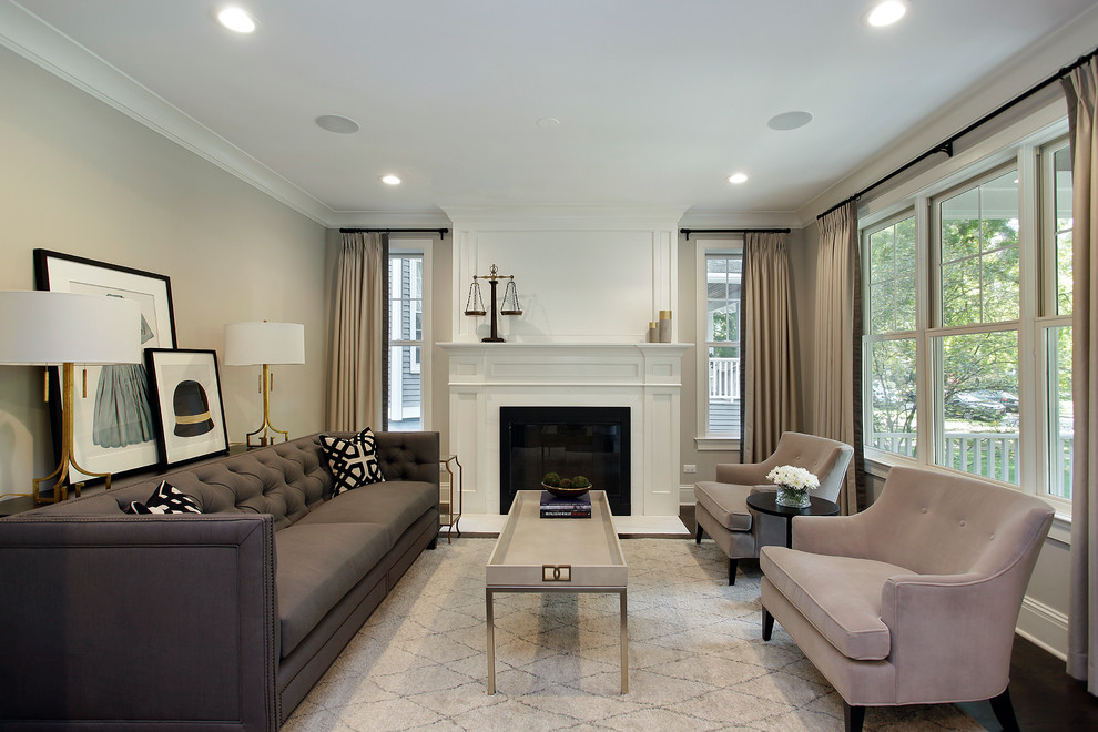 Grey Tufted Sofa Living Room Transitional with Beige Area Rug Beige Armchair Beige Coffee