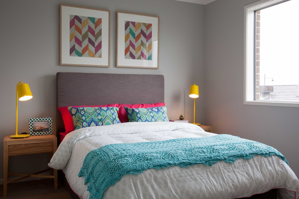 Grey Upholstered Headboard Bedroom Contemporary with Affordable Blue Ikat Pillows Bright Pink Pillows