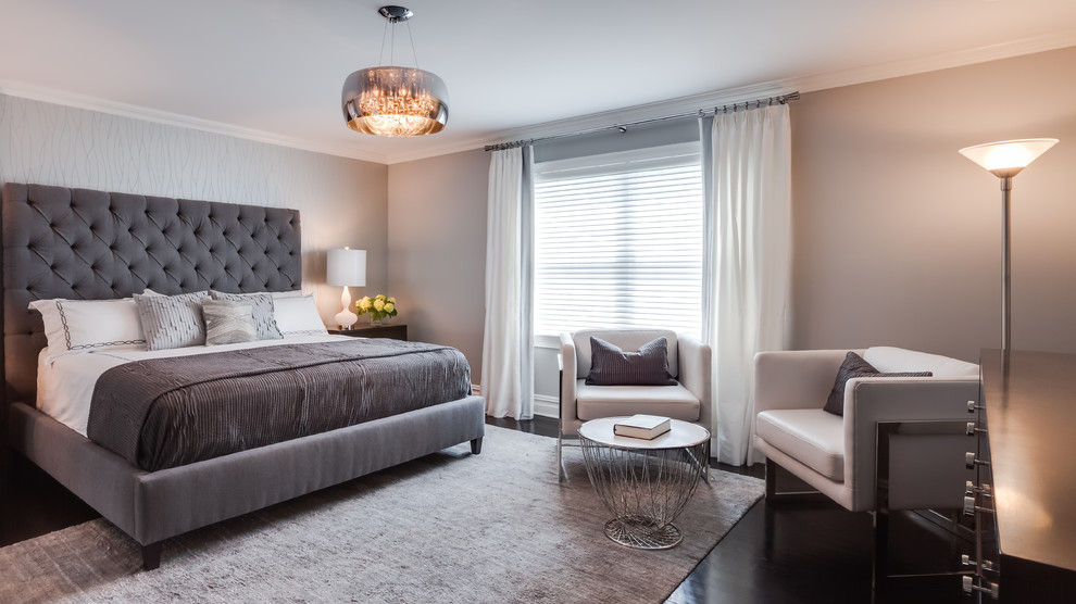 Grey Upholstered Headboard Bedroom Transitional With