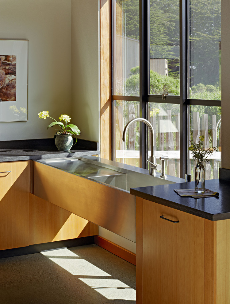 Grohe Concetto Kitchen Contemporary with Baseboards Dark Countertops House Plants Industrial Sink