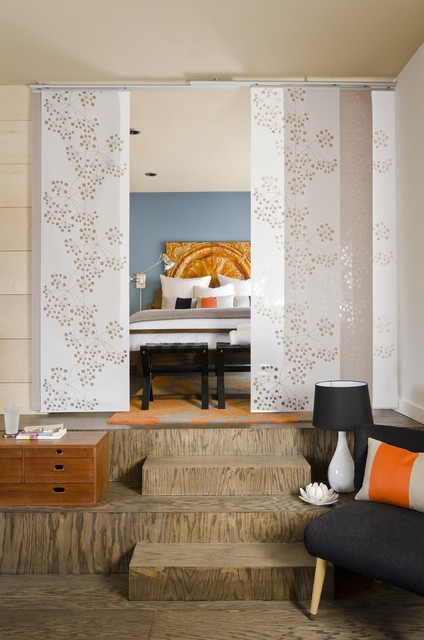 Grommet Curtain Panels Bedroom Modern with Accent Wall Black Stool Blue Wall Eclectic Living Room