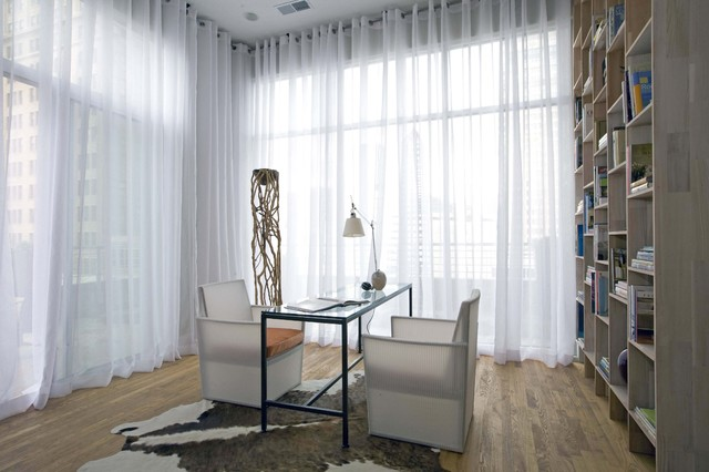 Grommet Top Curtains Home Office Contemporary with Bookshelves Cowhide Rug Desk Lamp Glass Topped Desk Window Treatments