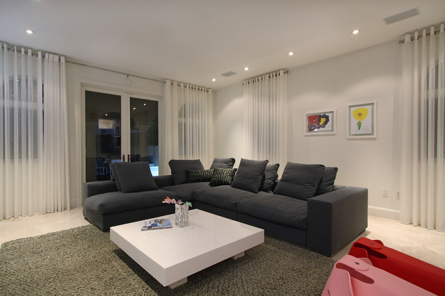 Grommet Top Curtains Living Room Contemporary with Gray Sectional Low Coffee Table Marble Floor Recesssed Lighting