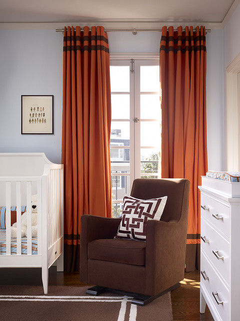 grommet top curtains Nursery Contemporary with area rug blue and brown changing table chest of