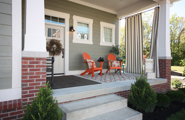 Grommet Top Curtains Porch Craftsman with Adirondack Chairs Area Rug Brick Covered Patio Front Porch