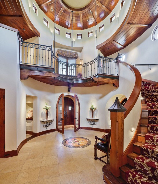 Gutters Madison Wi Entry Mediterranean with Arched Doorways Curved Staircase Dark Stained Wood Dome Ceiling