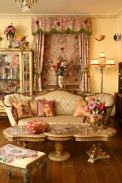 Gutters Madison Wi Living Room Victorian with China Cabinet Chintz Crystal Floor Lamp Floral French Fringe
