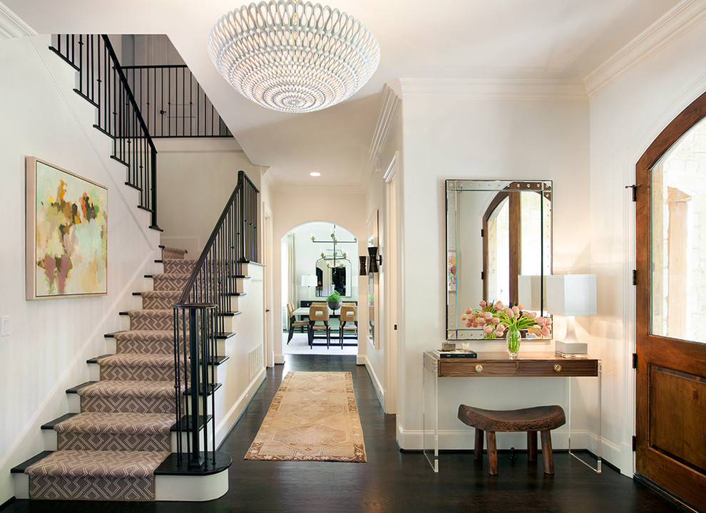 Hallway Runners Entry Transitional with Black Staircase Curtail Dark Hardwood Floors Entry1