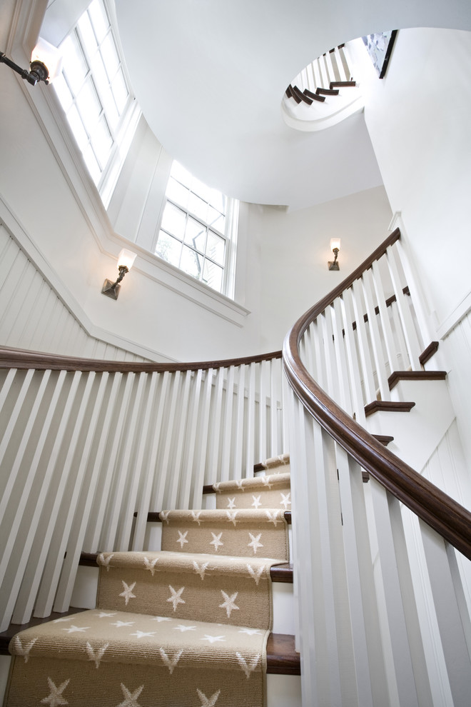Hallway Runners Staircase Traditional with Beadboard Beige Curved Staircase Dark Stained Wood1
