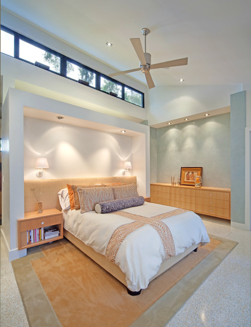 Halo Recessed Lighting Bedroom Tropical with Blue Bolster Botanical Print Bedding Built in Headboard Built