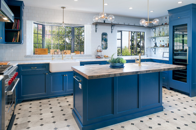 Hampton Bay Cabinets Kitchen Mediterranean with Bay Window Black and White Floor Tile Carrera Marble