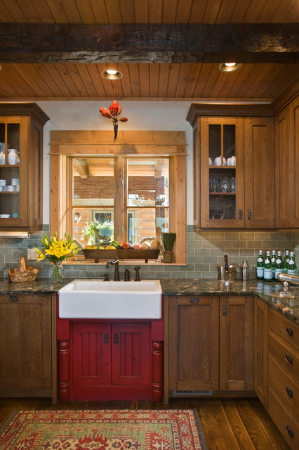Hampton Bay Cabinets Kitchen Rustic with Early American Glass Front Cabinets Lake Home Lake House Lake
