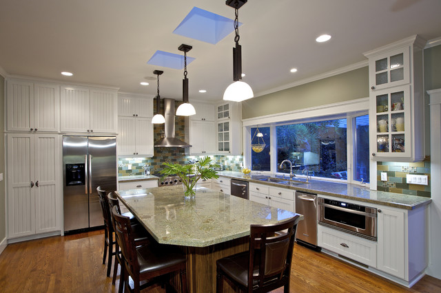 Hampton Bay Kitchen Cabinets Kitchen Traditional with Bay Window Bead Board Cabinets Counter Stools Glass Front