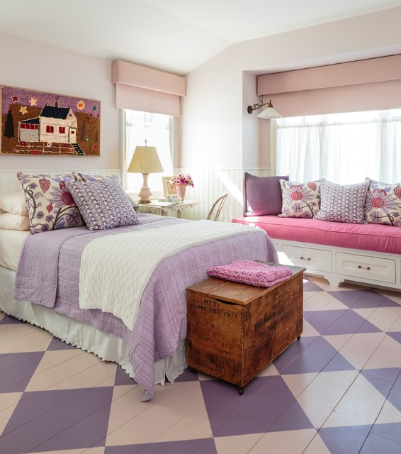 hampton bay laminate flooring Bedroom Shabby-chic with checkered floor colorful painted flooring pink and purple flooring