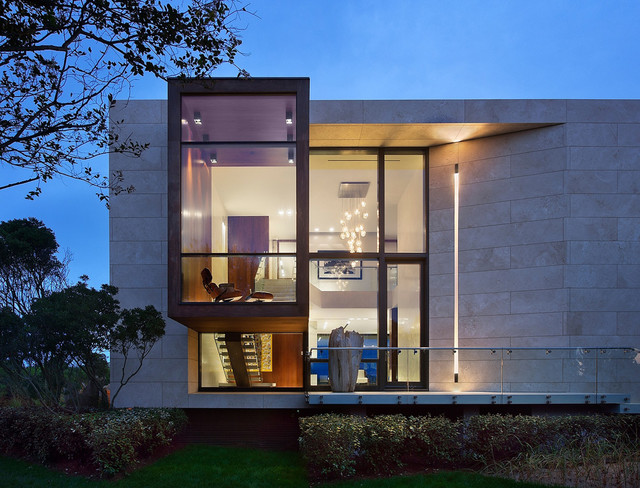 Hampton Bay Outdoor Lighting Exterior Contemporary with Balustrade Cantilevered Cladding Flat Roof Glass Railing Landscape Lounge