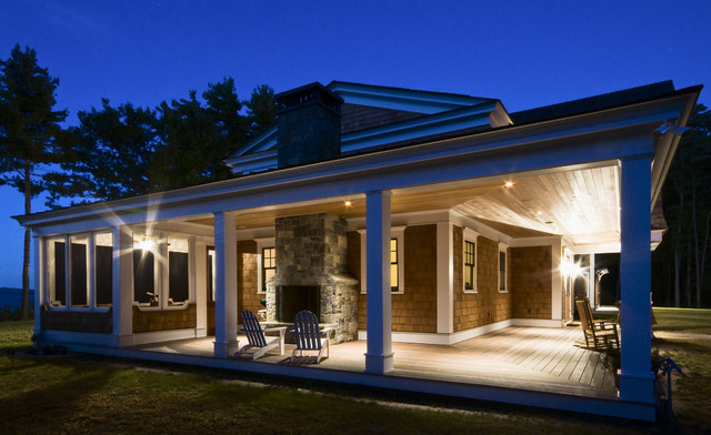 Hampton Bay Outdoor Lighting Exterior Traditional with Adirondack Chairs Ceiling Lighting Coast Deck Enclosed Porch Grass