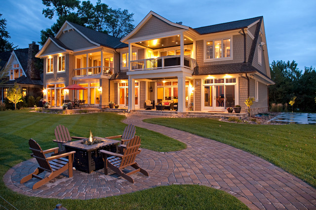 Hampton Bay Outdoor Lighting Exterior Traditional with Accent Lighting Adirondack Chairs Balcony Brick Pavers Lawn Night
