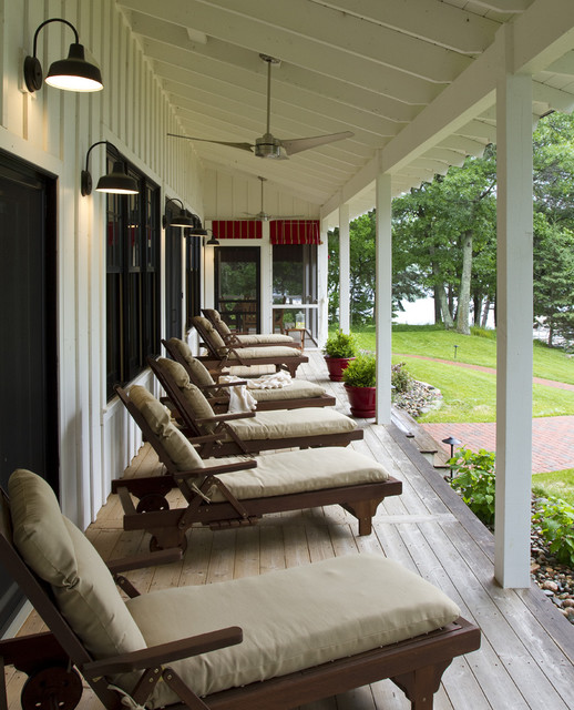 Hampton Bay Outdoor Lighting Porch Rustic with Board and Batten Cabin Ceiling Fan Chaise Longue Chaise