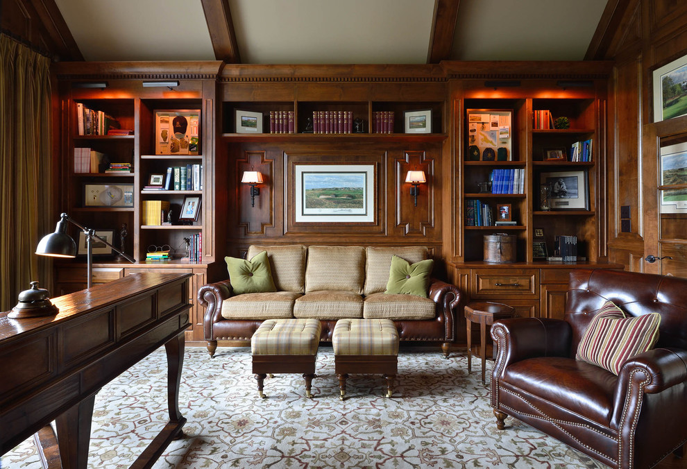 Hancock and Moore Sofa Home Office Traditional with Area Rug Brown Leather Built in Bookcases Curtain