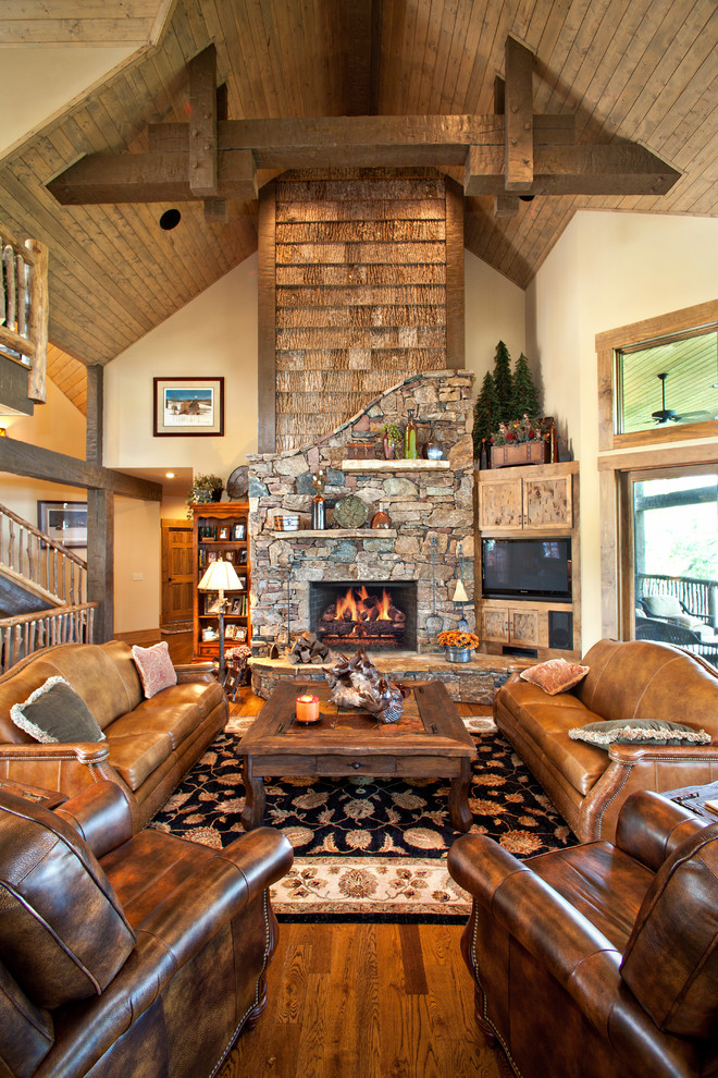 Hancock and Moore Sofa Living Room Rustic with Beams Ceiling Fan Cream Walls Exposed Beams