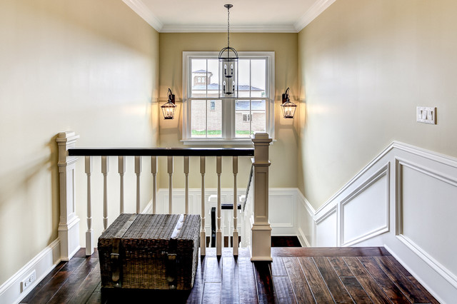 hand scraped flooring Staircase Farmhouse with black handrail cottage farmhouse hall hanging fixture lantern rustic