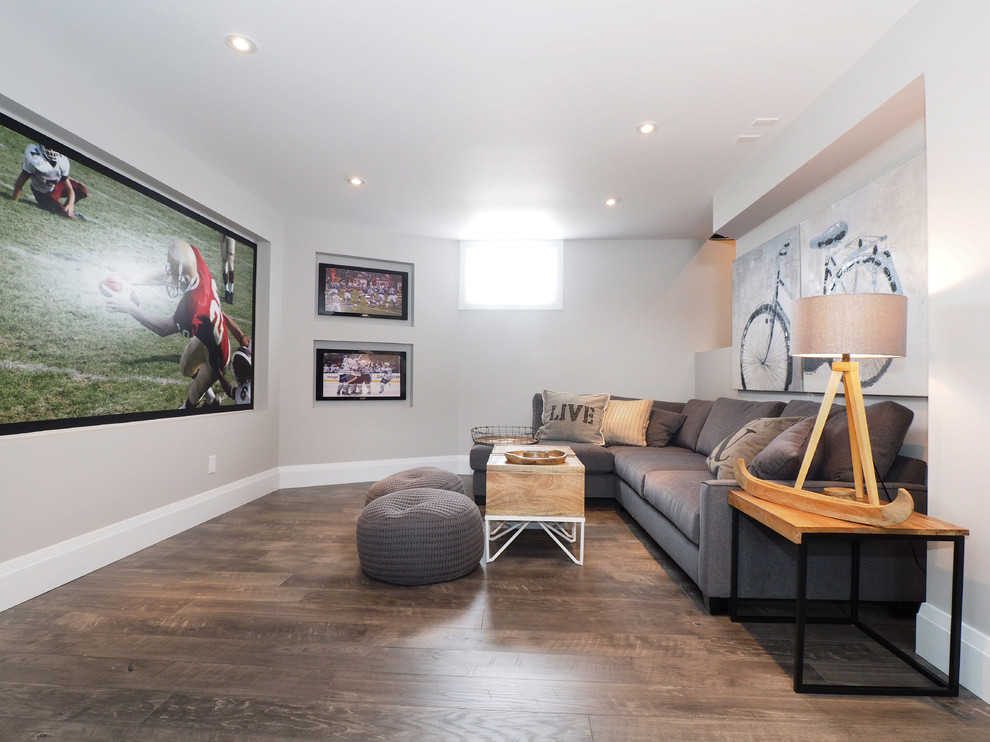 Hand Scraped Laminate Flooring Basement Transitional with Bicycle Art Gray Poufs Gray Sectional Sofa