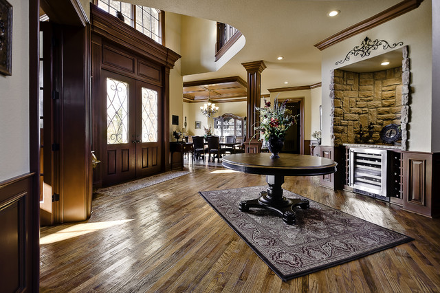 Hand Scraped Wood Floors Entry Traditional with Area Rug Beverage Cooler Cornice Crown Molding Customs Dark