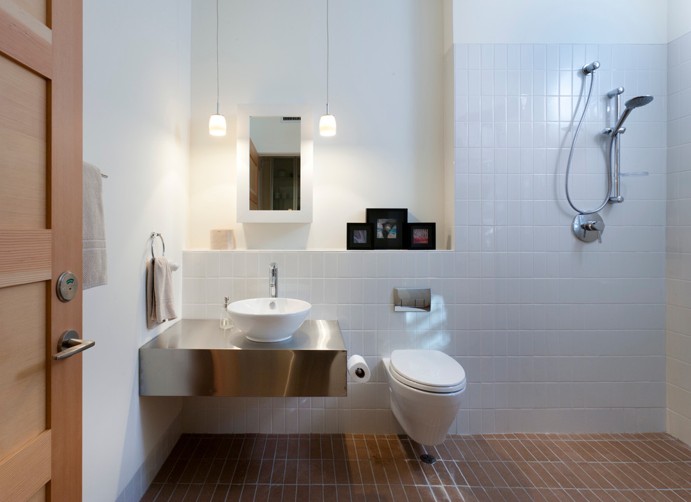 Handicapped Toilets Bathroom Contemporary with Floating Vanity Ledge Open Shower Pendant Lighting